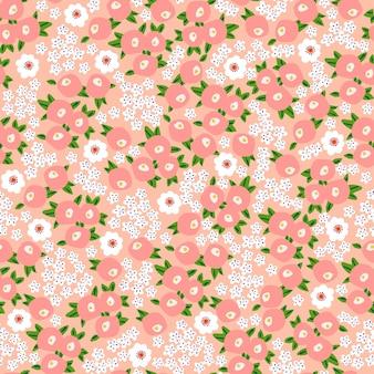 ベクトル小さな花のイラストモチーフ頭が変なシームレスな繰り返しパターンデジタルファイルパターン