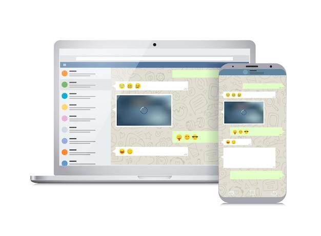 화면에 메신저 응용 프로그램이 있는 벡터 스마트폰 및 노트북. 소셜 네트워크 개념