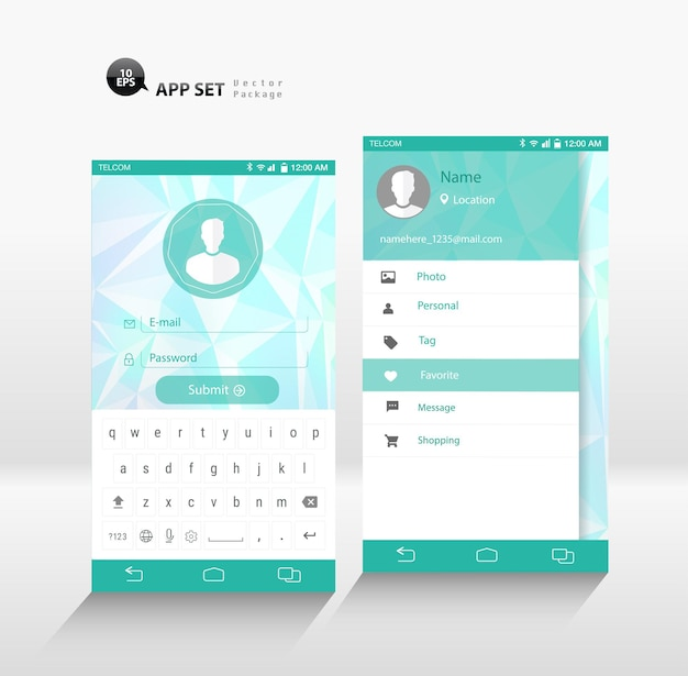 Векторный вход в приложение для смартфона и пользовательский интерфейс боковой панели. макет пользовательского интерфейса