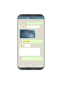 화면에 메신저 응용 프로그램이 있는 벡터 스마트폰. 소셜 네트워크 개념