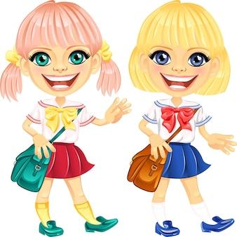 Vector smiling blonde cute schoolgirls