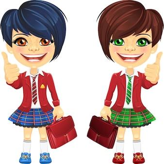 Vector smiling brunette cute schoolgirls