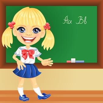 Vector smiling schoolgirl near blackboard