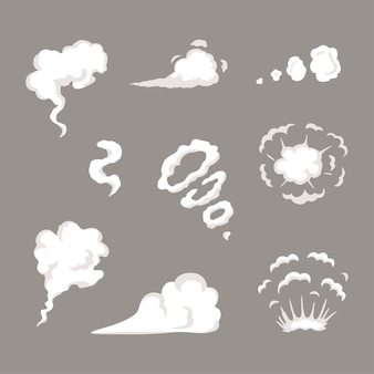 벡터 연기는 특수 효과 템플릿을 설정합니다. 만화 증기 구름, 퍼프, 안개, 안개, 수증기 또는 먼지 폭발. 게임, 인쇄, 광고, 메뉴 및 웹 디자인을 위한 클립 아트 요소