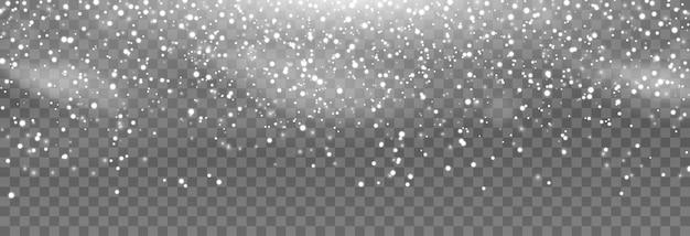 Вектор снег снег на изолированных прозрачном фоне снегопад метель зимние снежинки