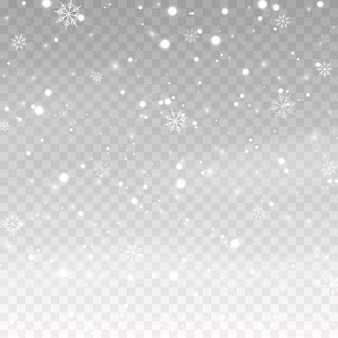 격리 된 투명 한 배경에 벡터 눈 눈 강설량 눈보라 겨울 눈송이