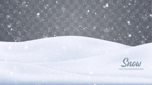 Вектор снегопад изолированный зимний фон наложение снега снежинки лед и снежный пейзаж