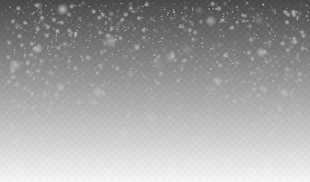Vector snowfall, seamless realistic falling snow, snowflakes in different shapes and forms.