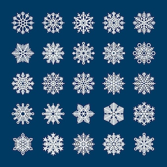 Vector snowflakes set for holiday winter invitations and backgrounds