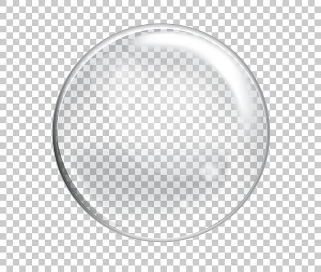 Vector soap water big bubble realistic on transparent