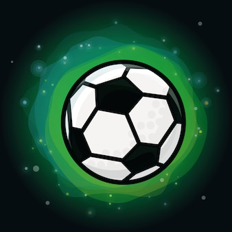 Vector soccer ball on green background
