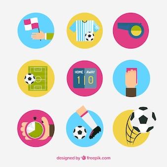 ベクトルサッカーのアイコンセット