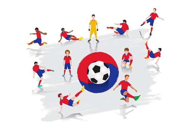 Vector soccer player team with south korea flag background