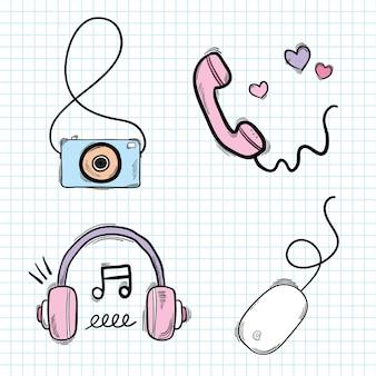 Vector social media doodle vector set