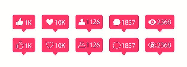 Векторные иконки социальных сетей. значок лайка и комментария.