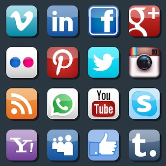 Icone di social media vettoriali. pinterest e instagram, flickr e whatsapp, skype e linkedin