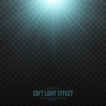 Vector soft blue light effect on transparent background