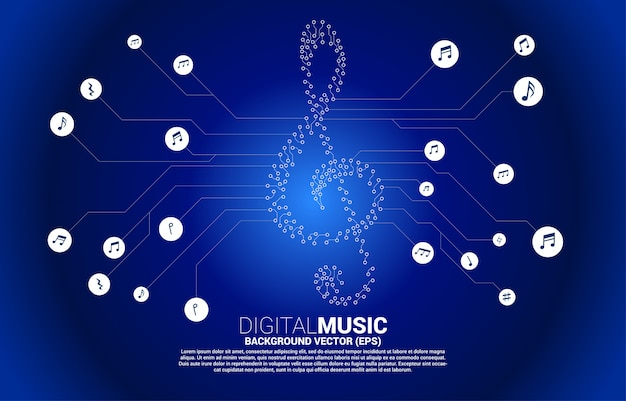 Vector sol music key note from dot connect line circuit board style. concept background for song and concert theme.