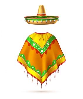 Vector sombrero mexican hat mustache cinco de mayo Premium Vector