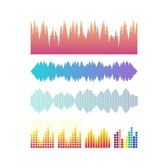 Vector sound waves set. music colorful elements your design isolated. vector illustration.