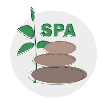 Vector spa logo template. spa stones hand drawn illustration for spa logo design.