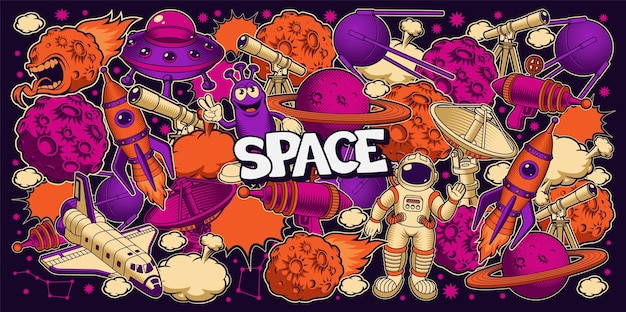 만화 스타일의 벡터 공간 배경, 공간 테마의 벽지에 적합