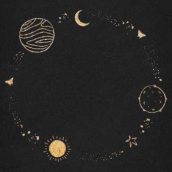 Вектор космической границы круглая рамка для детей