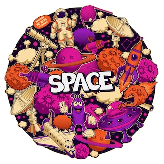 Vector space circular pattern in cartoon style