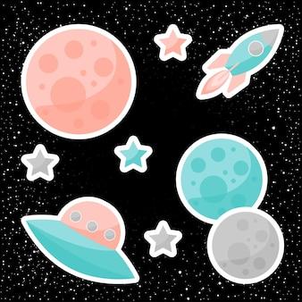 검은색 열린 공간 배경에 격리된 행성, 분홍색 및 파란색 별, ufo 및 우주선이 있는 벡터 공간 덮개