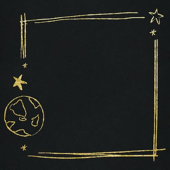 Vector space star border for kids