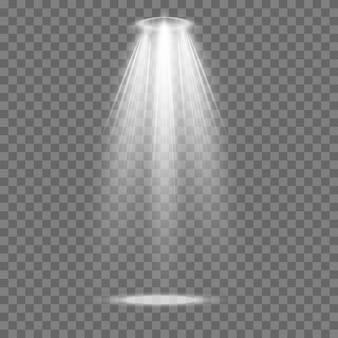 벡터 스포트라이트. 조명 효과입니다. 광선 격리 된 흰색 투명 조명 효과입니다.