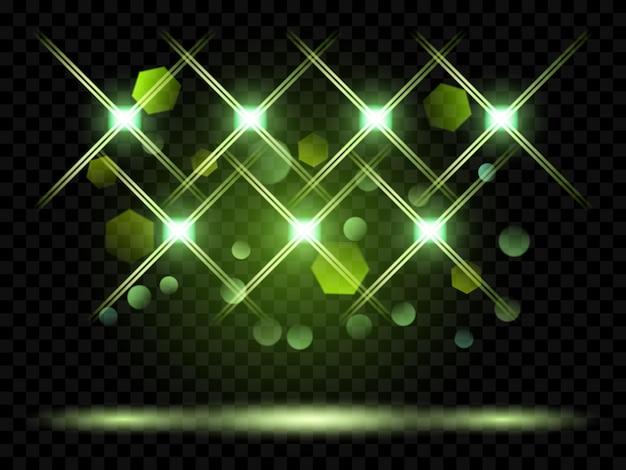 Векторные прожекторы. освещение сцены. прозрачные световые эффекты. прозрачность только в векторном формате