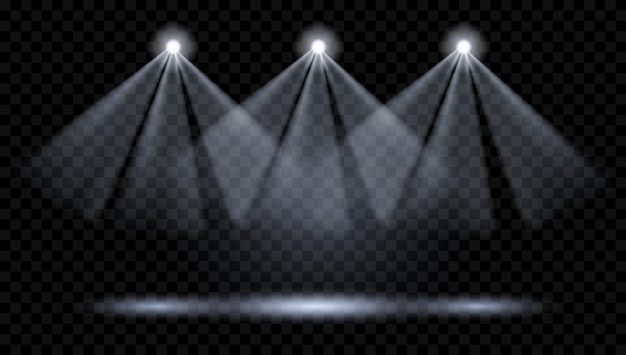 Vector spotlights. illumination of the scene. transparent light effects. transparency only in vector format