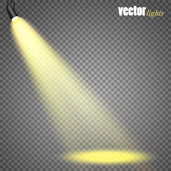 ベクトルスポットライト。シーンライトエフェクトベクトル。グローライト効果。 Premiumベクター