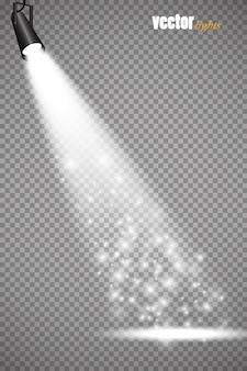 벡터 스포트라이트. 장면 조명 효과 벡터. 광선 조명 효과.