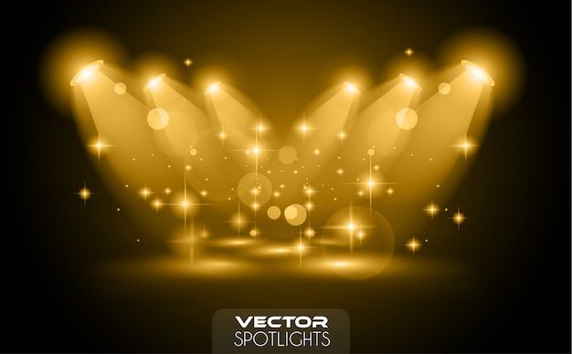 Vector spotlights scene with different source of lights pointing to the floor or shelf