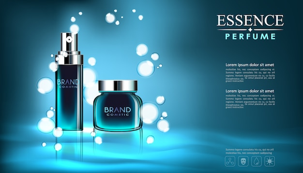Вектор спрей бутылка свежий аромат косметический макет на синем фоне.