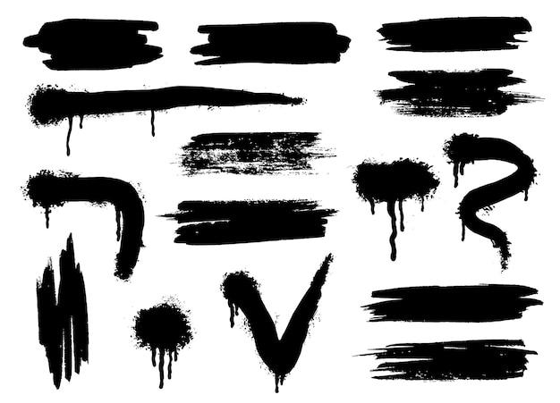 검은색 벡터 스프레이 페인트 모양입니다. 낙서 스텐실 템플릿 또는 페인트 줄무늬. 추상 라인과 물방울입니다. 흰색 배경에 디자인을 위한 밝아진