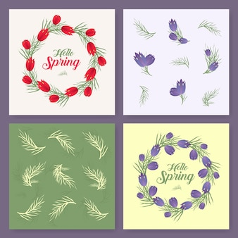 Vector spring background. spring time. spring flowers and leaves on tree. round frame. handwritten brush lettering. vector card template. you can place your text in the center on white background.