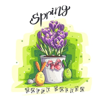 Vector spring easter greeting illustration with easter eggs and crocuses in a flower pot