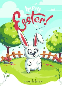Vector spring easter greeting illustration with funny bunny on green lawn