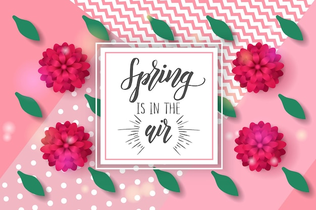 Vector spring greeting card with hand made trendy lettering