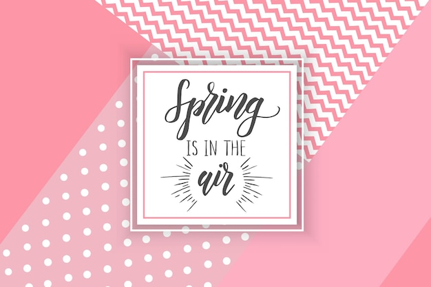 Vector spring greeting card with hand made trendy lettering Premium Vector