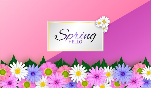 Vector spring sale background and beautiful flowers.