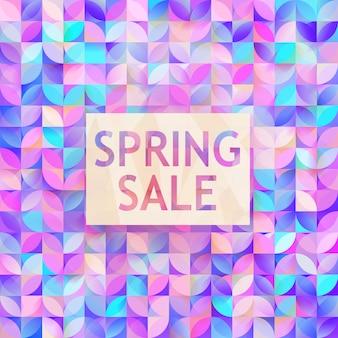 Vector spring sale. cute discount card. seasonal discount