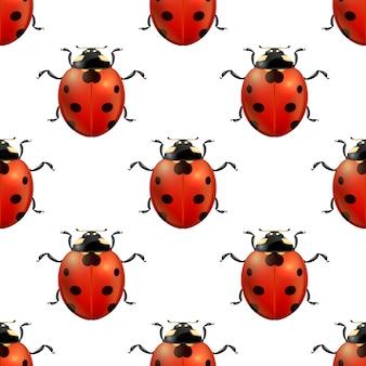 リアルなてんとう虫とベクトル春シームレスパターン。