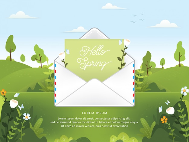 Vector of spring season with email
