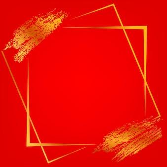 Векторная квадратная рамка и полоса золотых мелков для дизайна связанных элементов луны на градиентном красном фоне