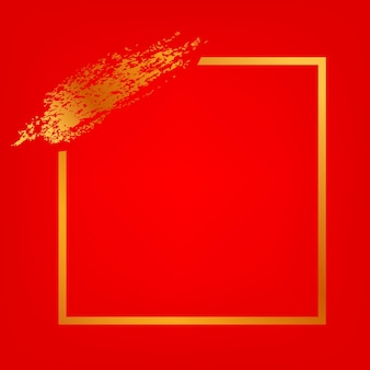 Vector square frame and golden crayon streak for lunar related element design at gradient red background