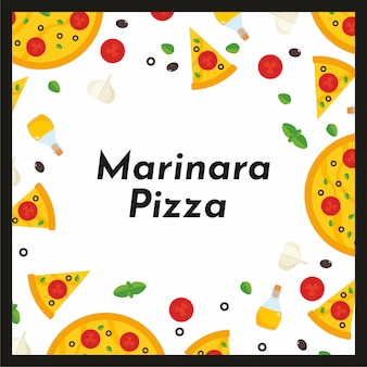 Vector square frame of pizza and ingredients.